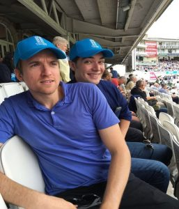 Greg James, star of Radio 1 and cricket fanatic, snapped in blue on Cricket United Day